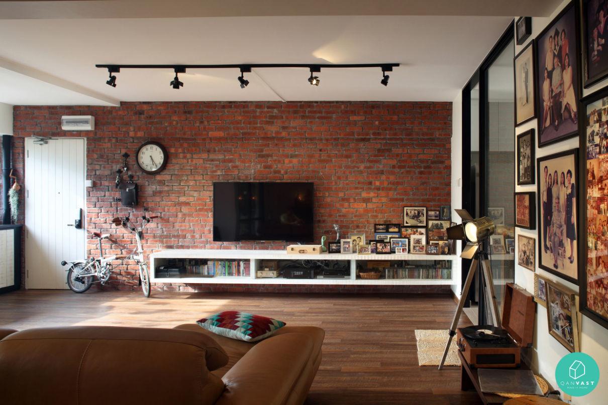 Loft industriel avec mur en briques